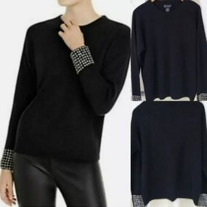 Bloomingdale's embellished sleeve cashmere sweater